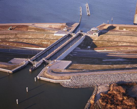 Aerial photo of Krabbersgat Naviduct polder, showing construction of the naviduct at Enkhuizen, Netherlands